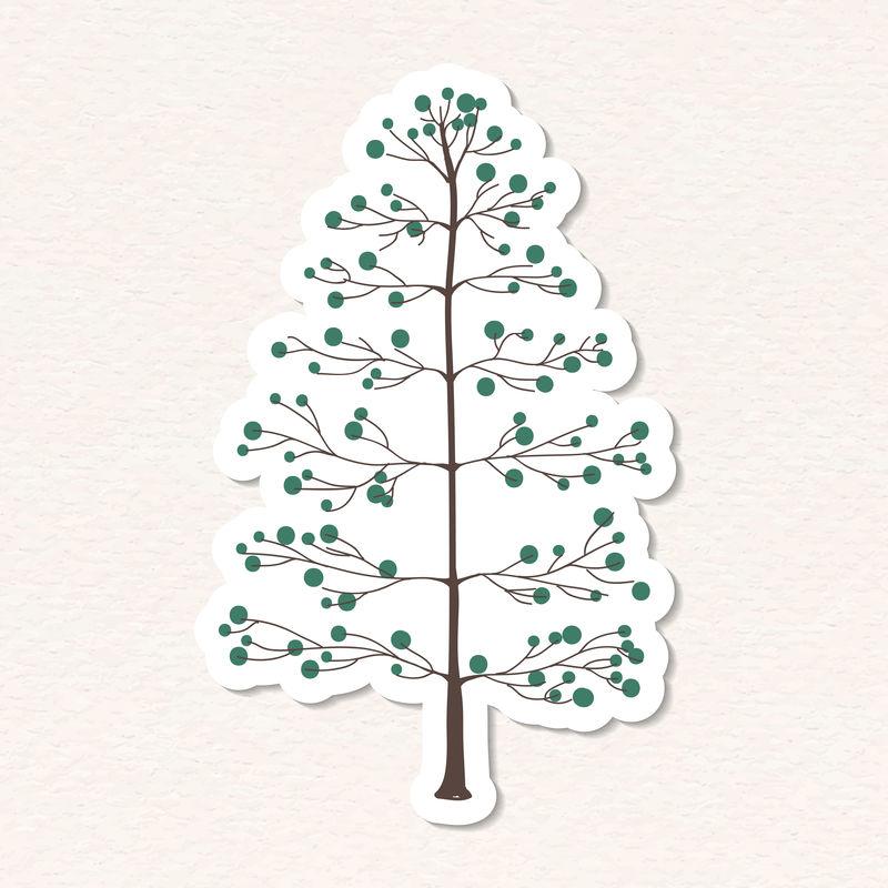 可爱的松树贴纸与白色的边界向量