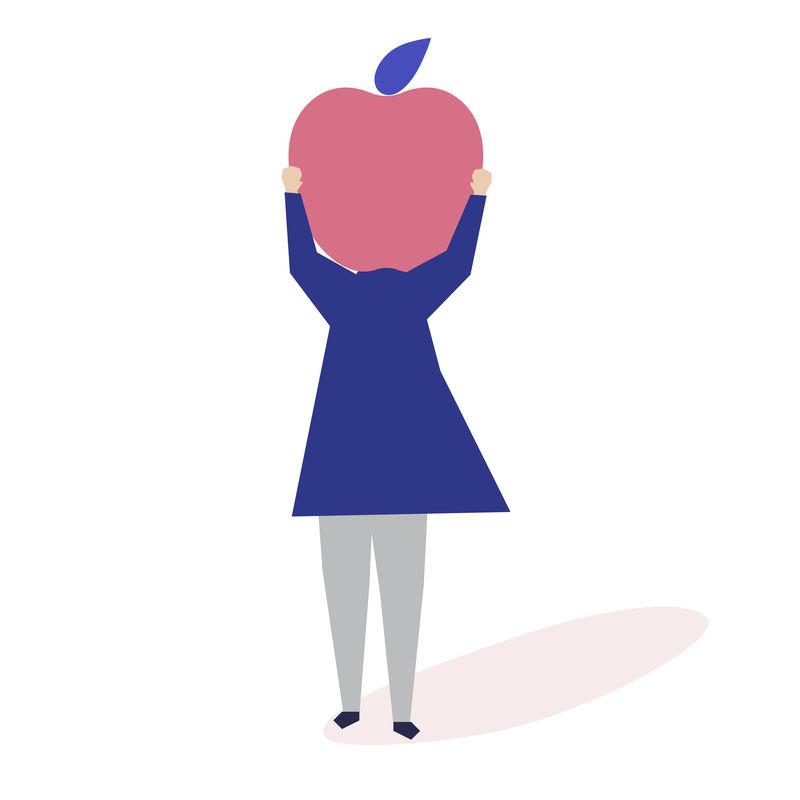 有苹果头插画的女人的性格