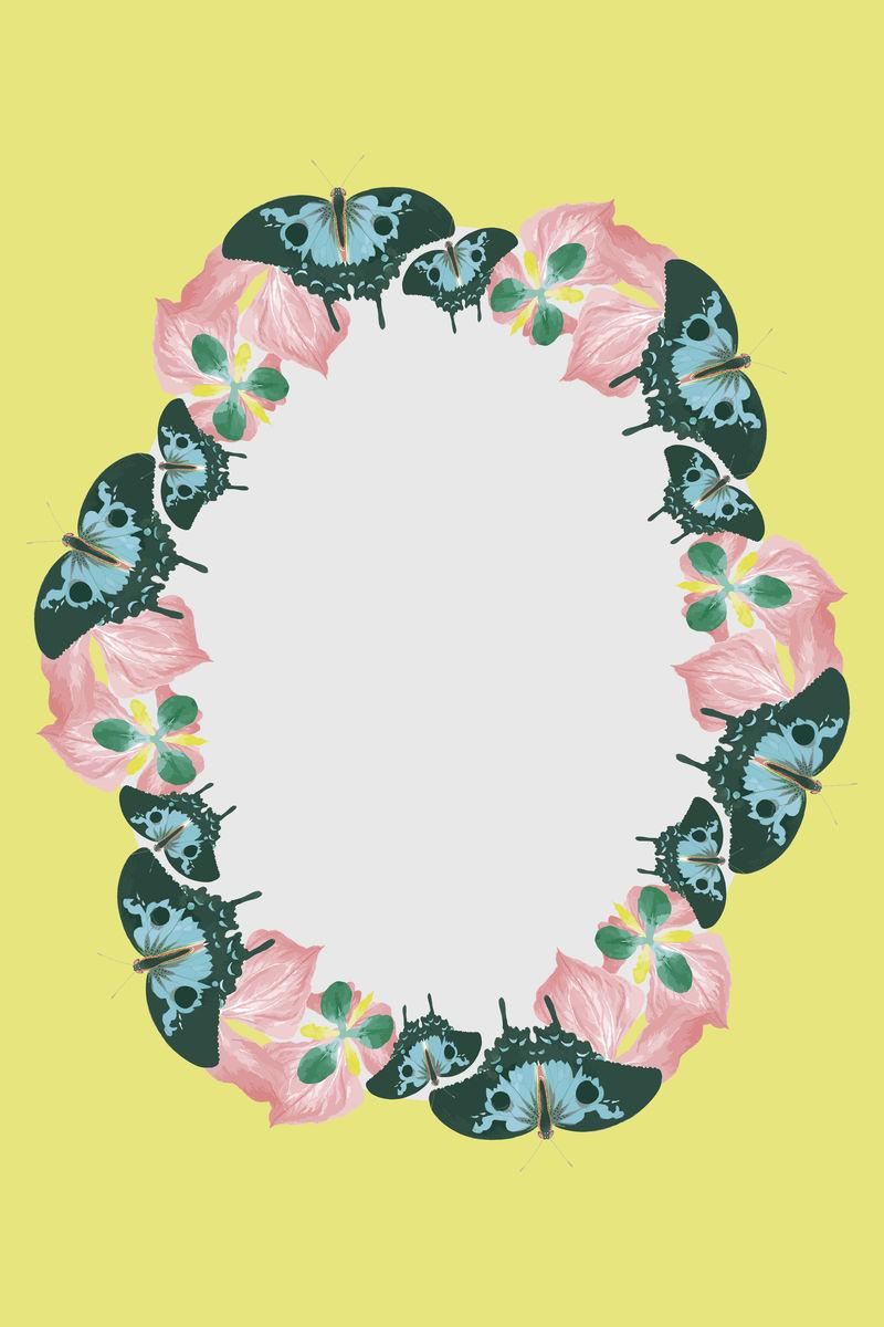 复古蝴蝶图案psd框架由乔治·肖的自然主义者杂集混合而成
