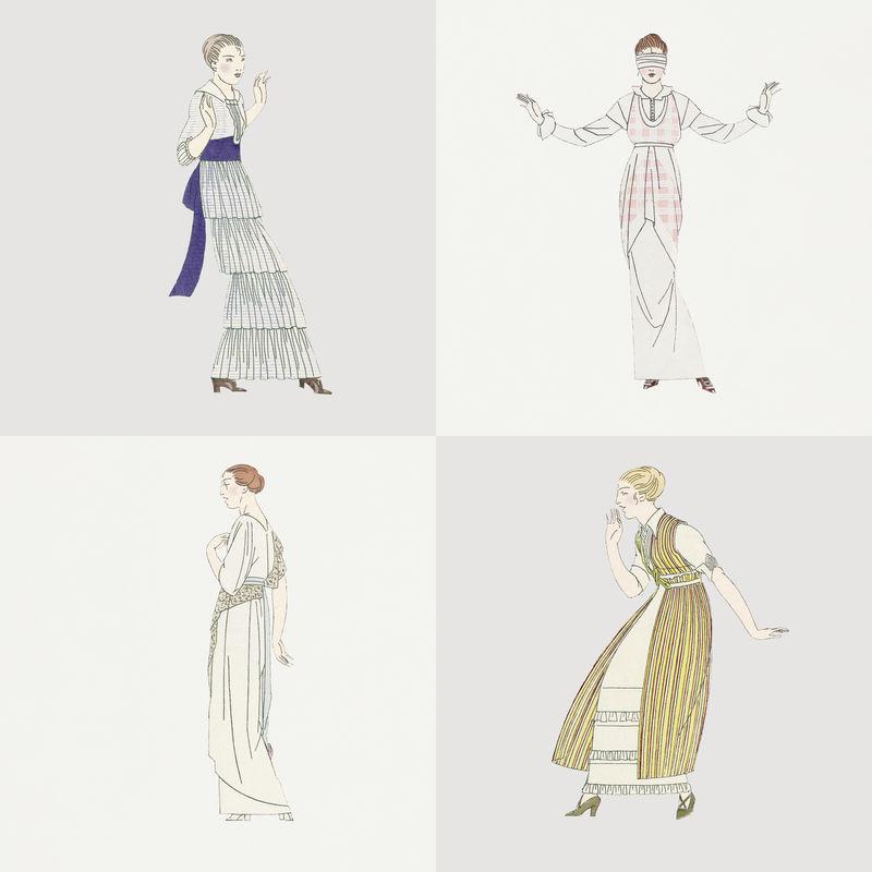 身着复古时装套装的女士由Bernard Boutet de Monvel的艺术作品混合而成