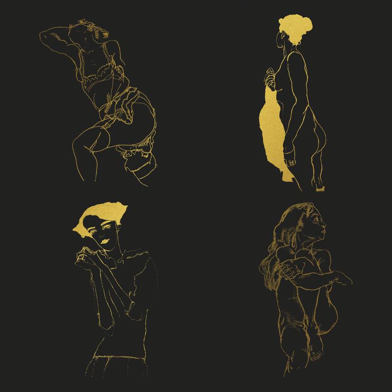 黄金女人线图psd集合混合从伊贡希勒的艺术作品