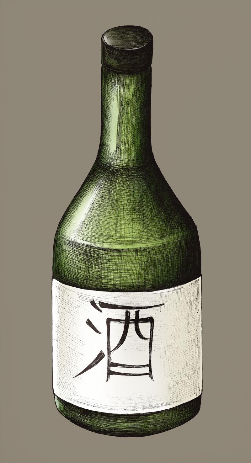 手绘大阪日本米酒