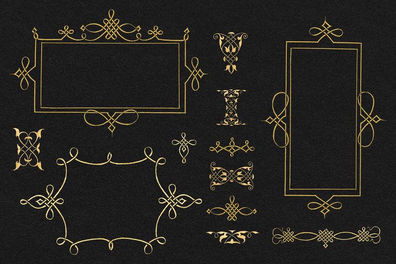 金丝花丝框套装psd由Joris Hoefnagel和Georg Bockay的书法模型书混合而成