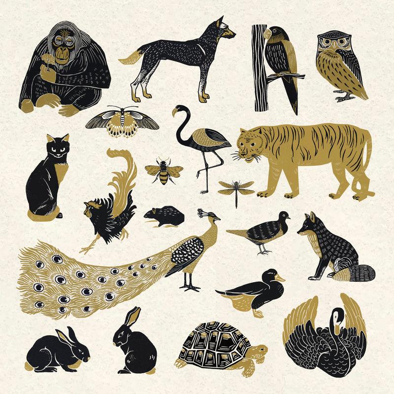古董野生动物矢量蜡纸画册