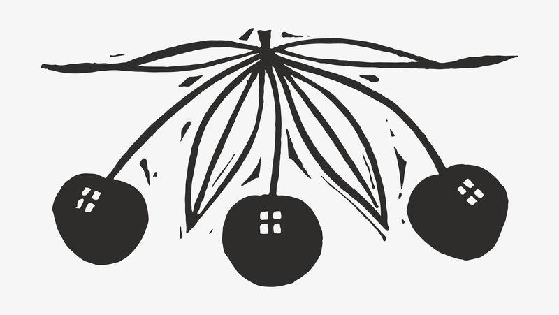 Cherries vector黑色复古印花由Gerrit Willem Dijsselhof的作品混合而成