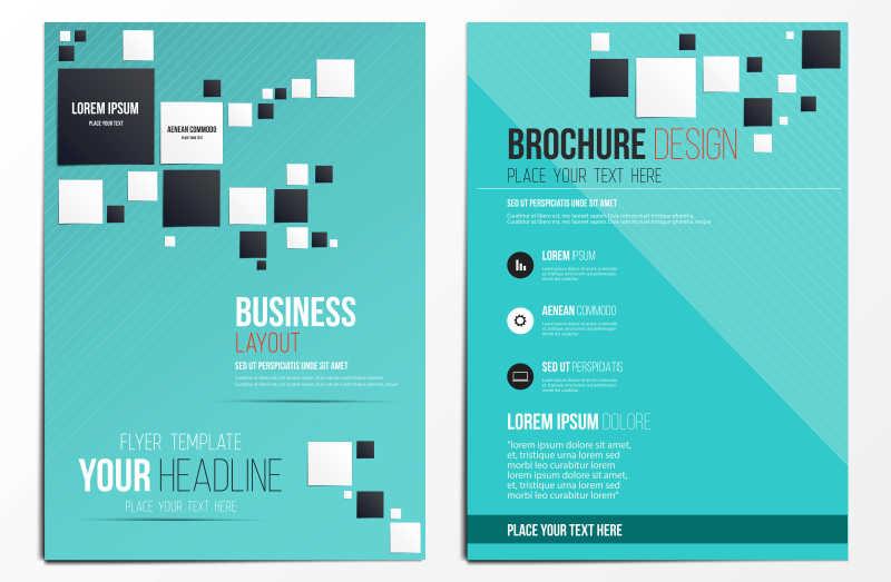 黑白方块图案的册子封面矢量设计模板