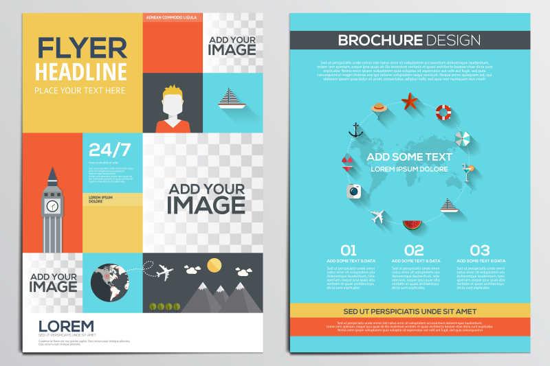 旅游主题插画的册子封面矢量设计模板