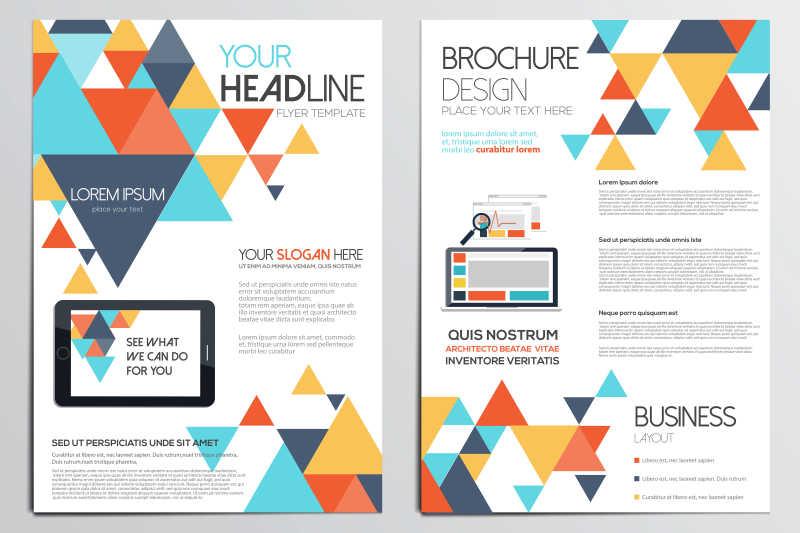 彩色三角图案的册子封面矢量设计模板