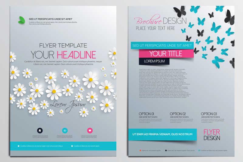 漂亮花卉图案的册子封面矢量设计模板