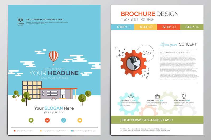房屋建筑插画的册子封面矢量设计模板