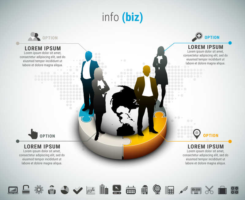 矢量人和地球元素的创意商业信息图表模板