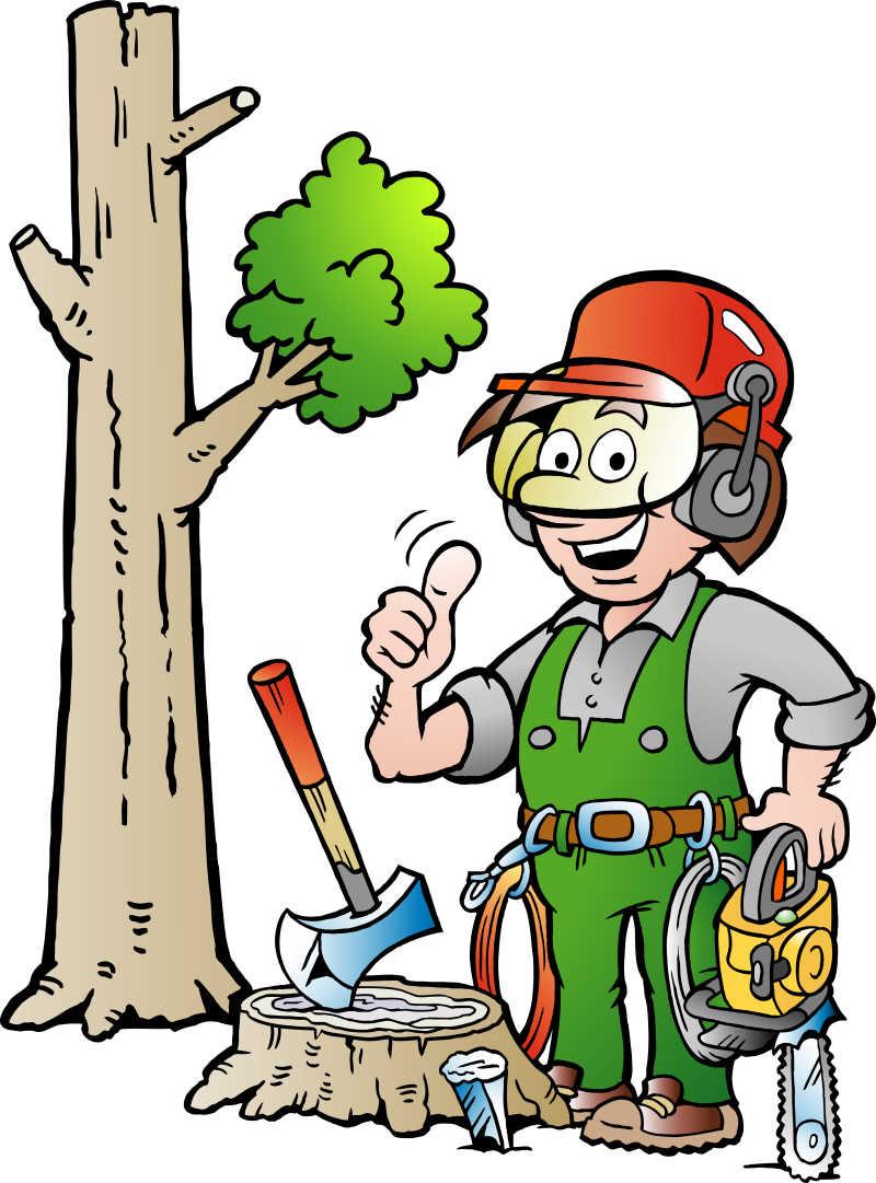 伐木工人矢量漫画插图