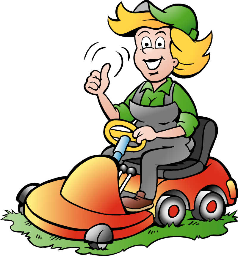骑在割草机上的花匠矢量卡通插图