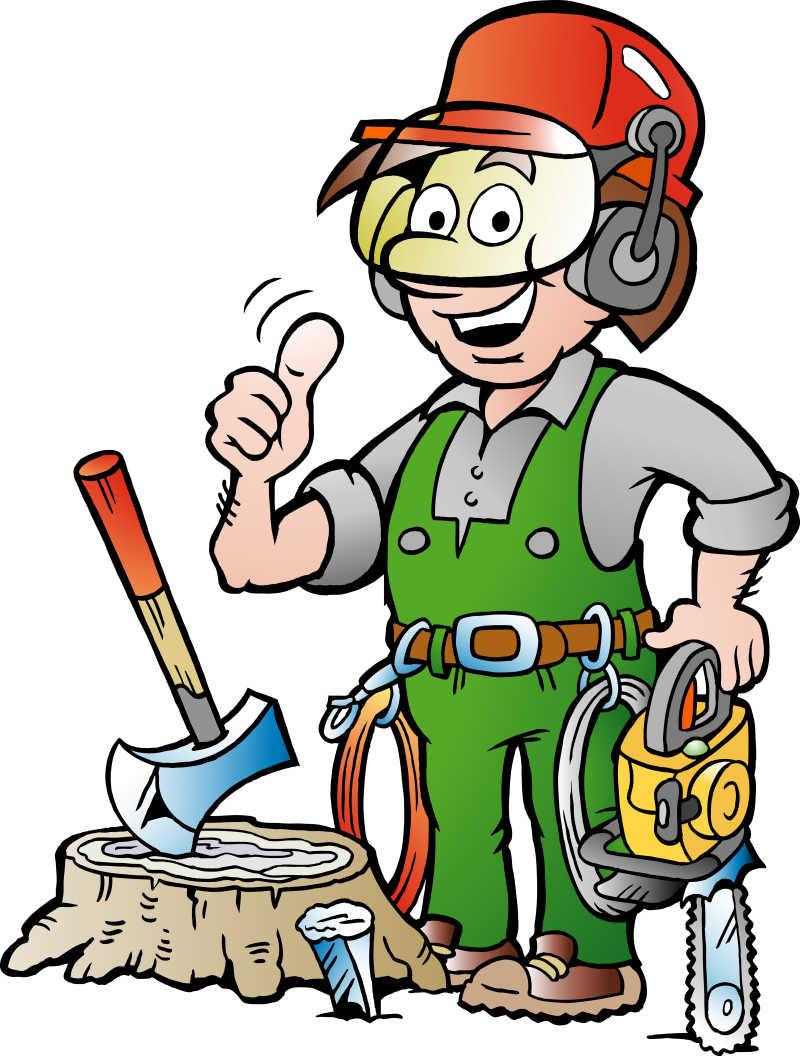 竖起拇指的伐木工人矢量插图