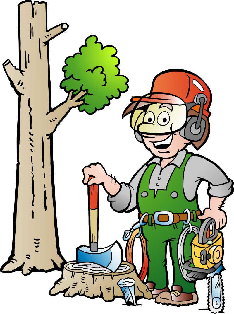 矢量快乐的伐木工人