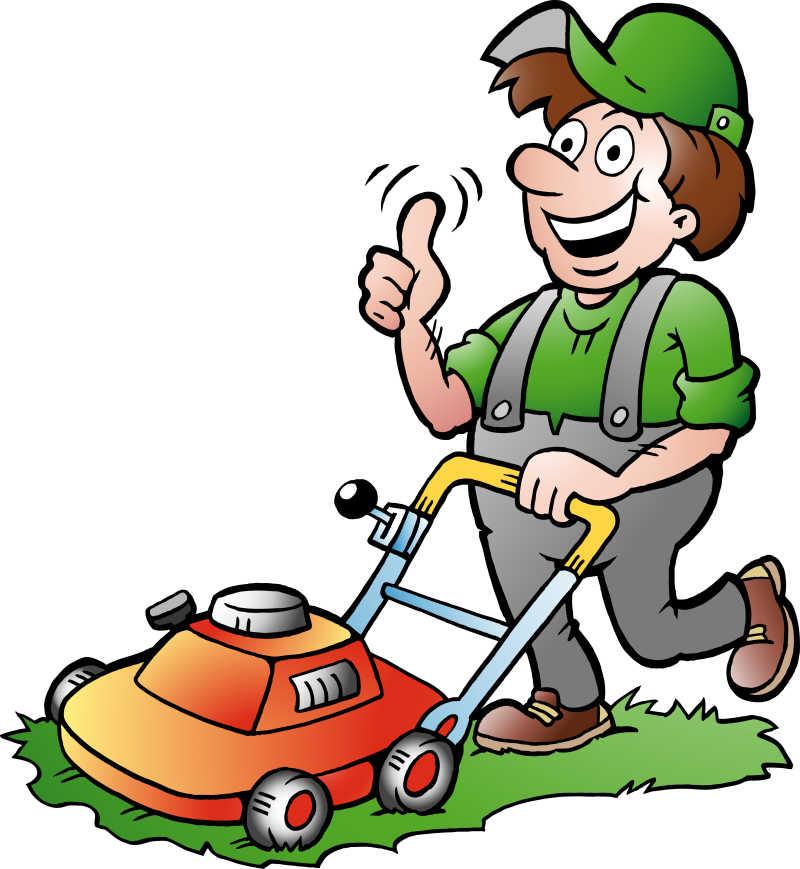 一个快乐的用割草机的园丁矢量插图