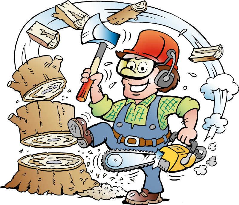快乐的伐木工人矢量漫画插图