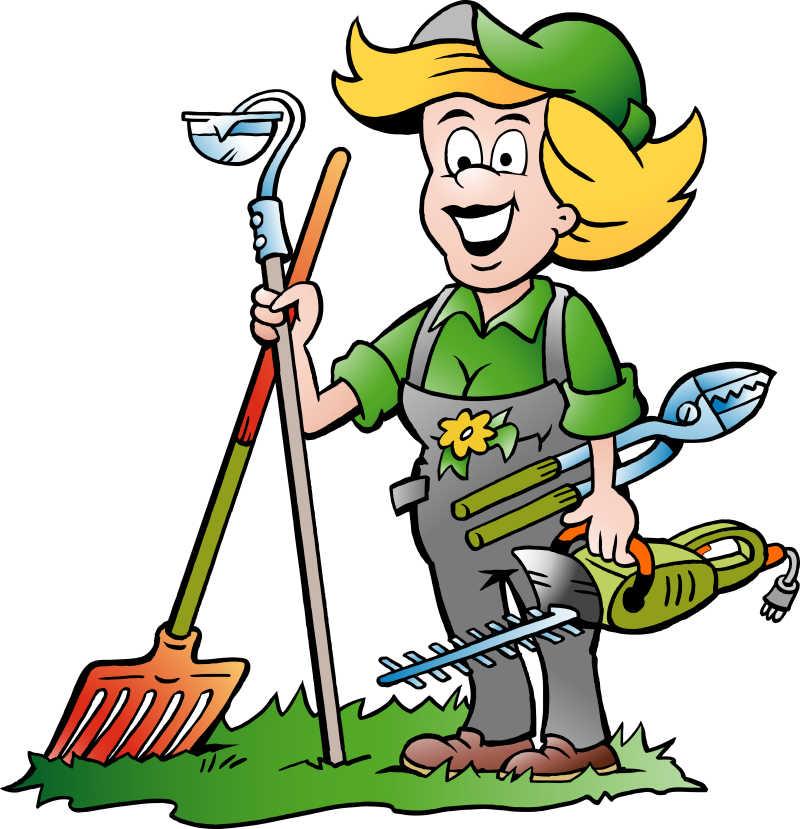 一位手持园艺工具的花匠矢量卡通插图