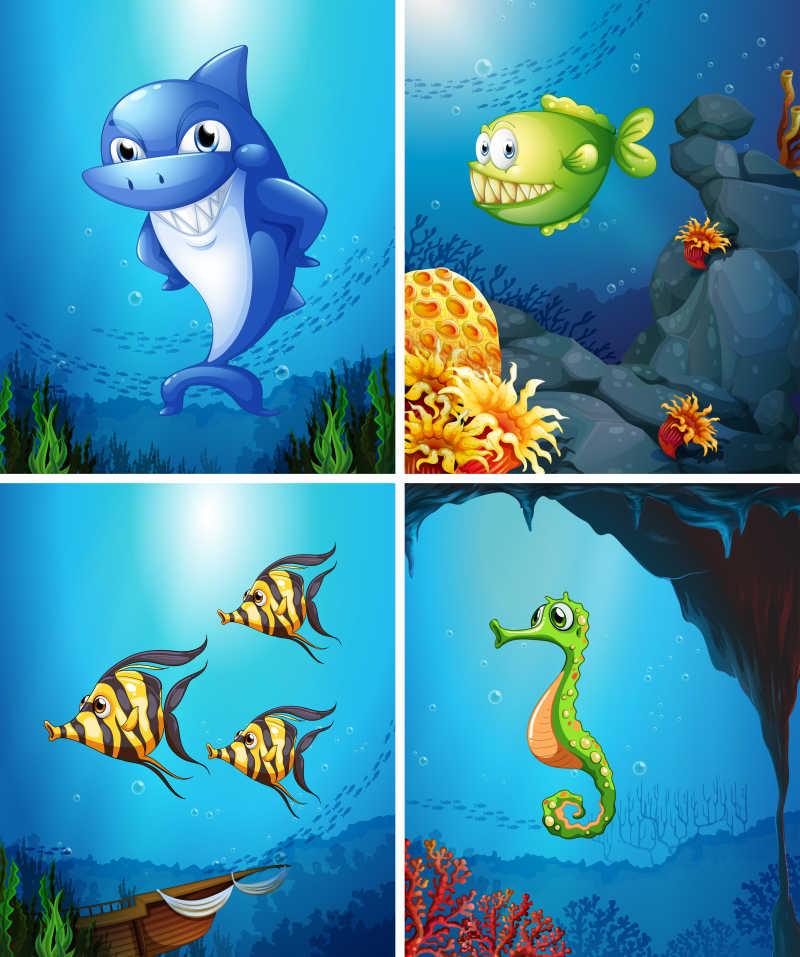 可爱的海洋动物矢量插画