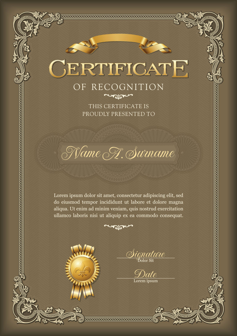 棕色的复古花纹荣誉证书矢量模板