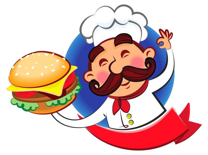 矢量汉堡包卡通厨师