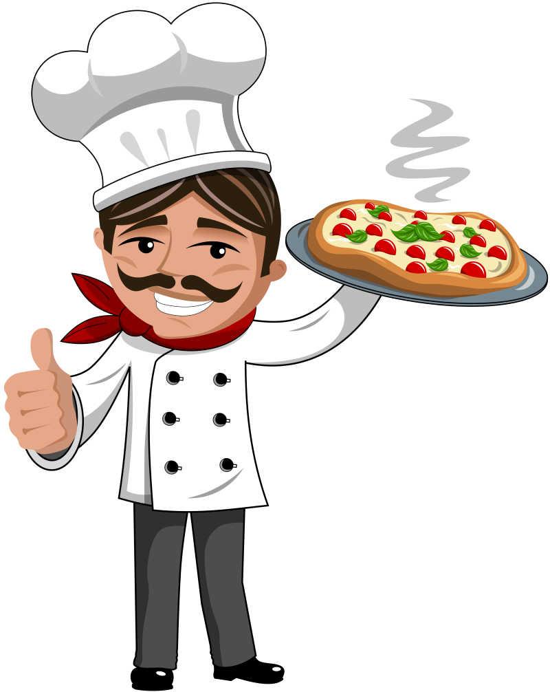 白色背景上竖起大拇指的矢量卡通披萨饼厨师