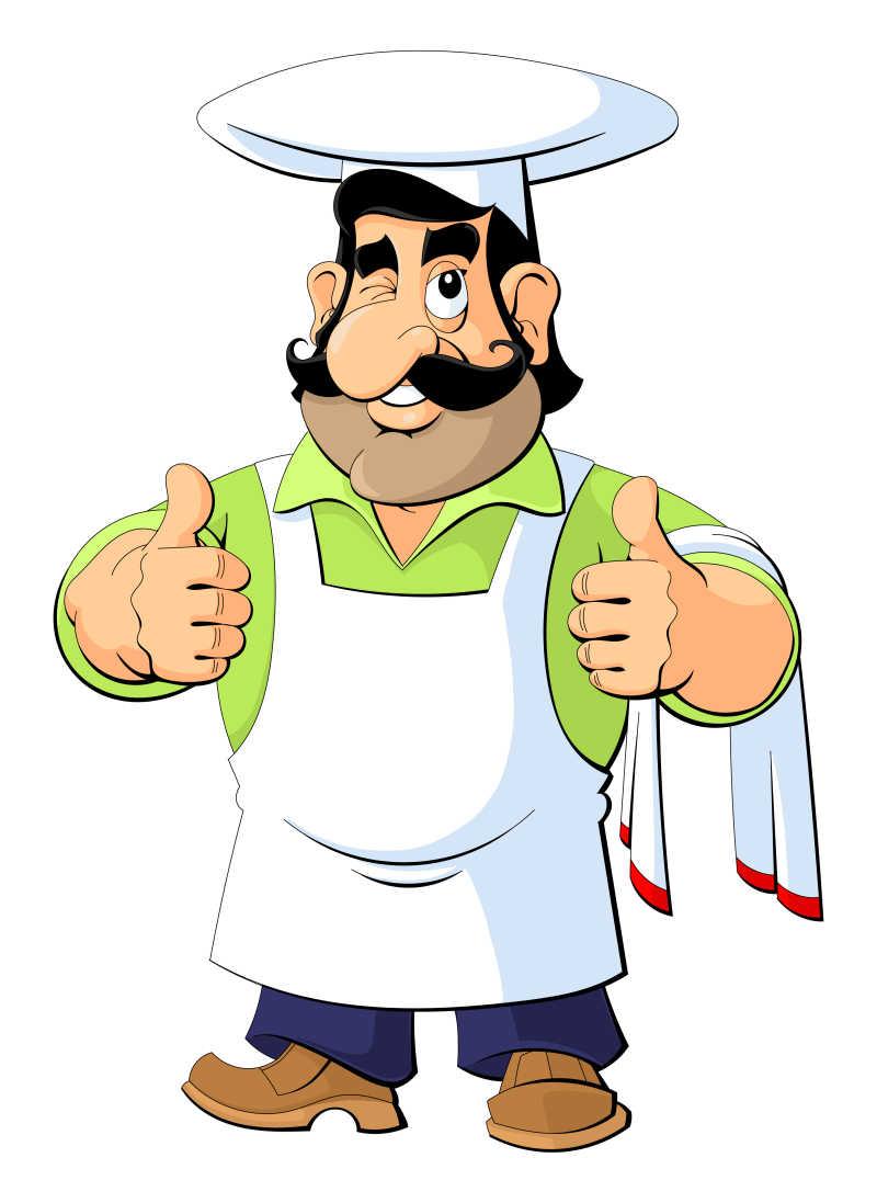 竖起大拇指的矢量卡通厨师