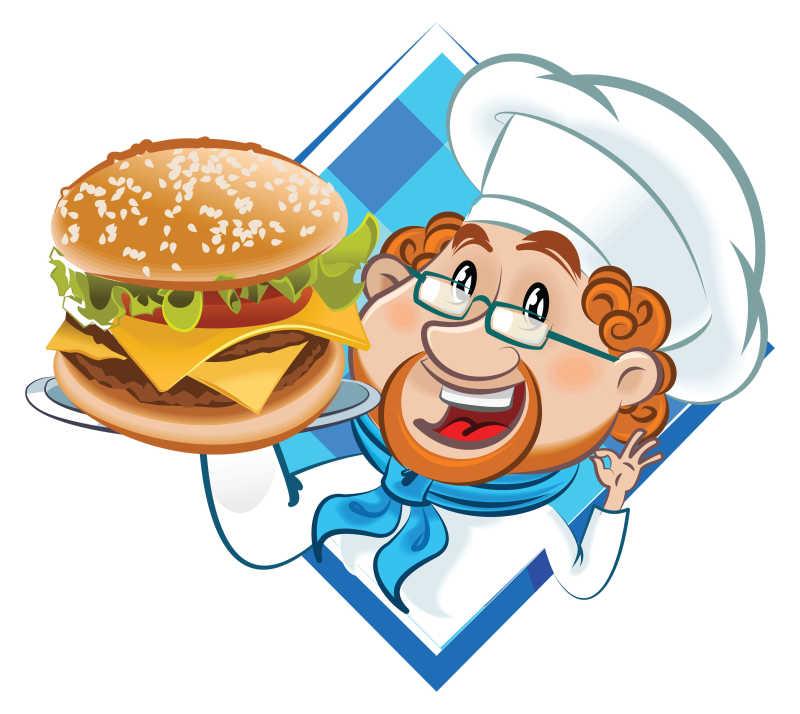 矢量卡通汉堡厨师