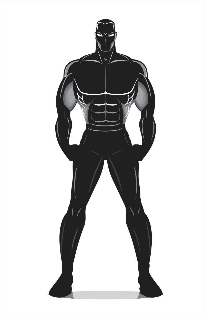 黑色的肌肉男矢量插画