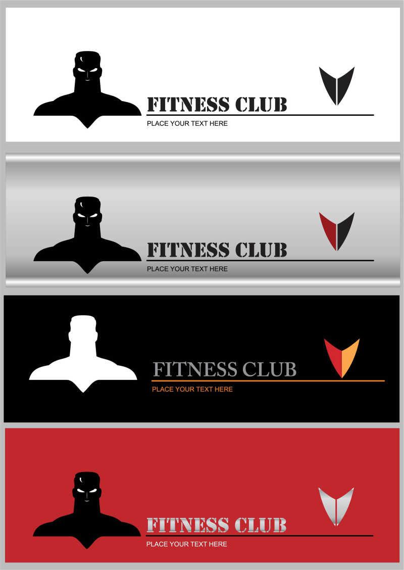 健身俱乐部卡片矢量模板