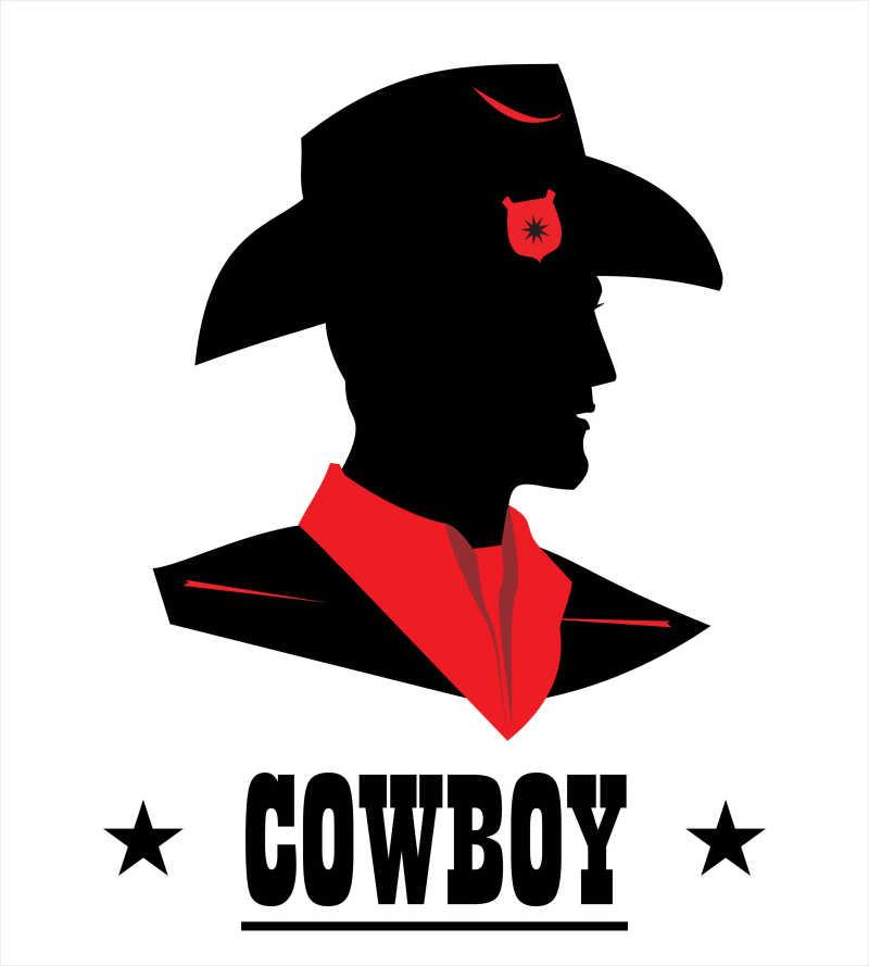 牛仔头像矢量插画