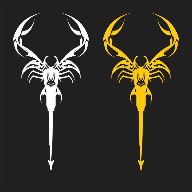 黑色背景下的白色和黄色蝎子矢量插画