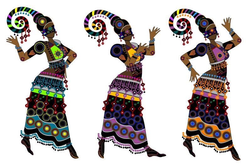 白色背景下的民族舞蹈矢量插图