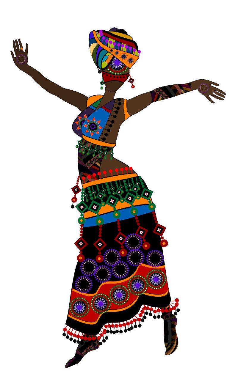 民族风格跳舞的女性矢量插图