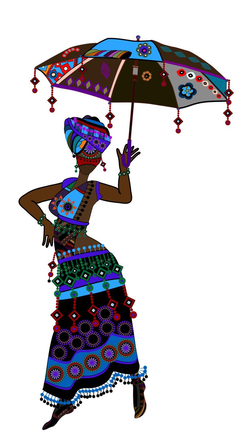 穿着民族风格衣服的女郎矢量插图