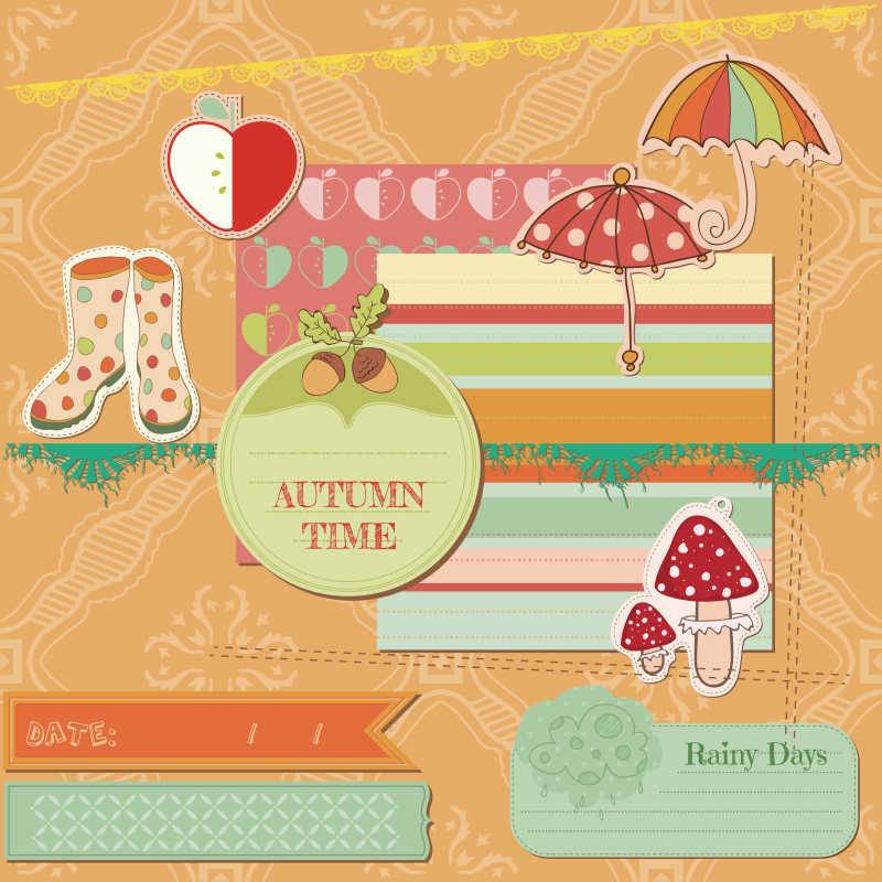 剪贴簿秋季矢量物品装饰设计元素