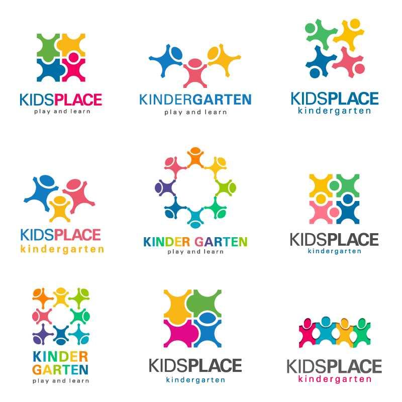 矢量彩色孩子图形组合创意图标设计