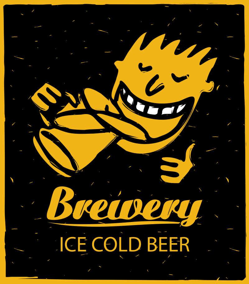 喝啤酒的人矢量商标