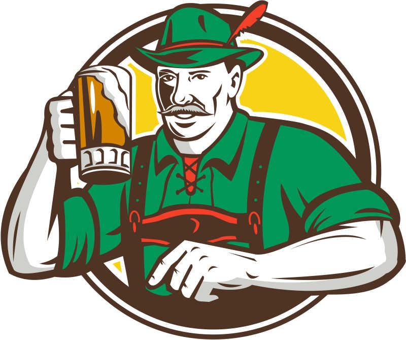 喝啤酒的酒吧矢量插画