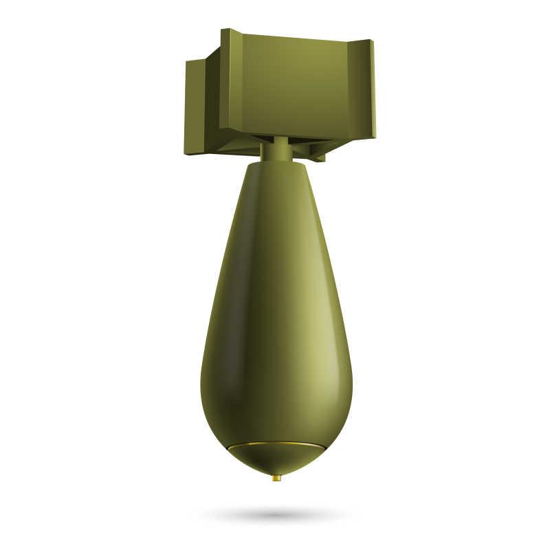 卡通绿色炸弹矢量插图