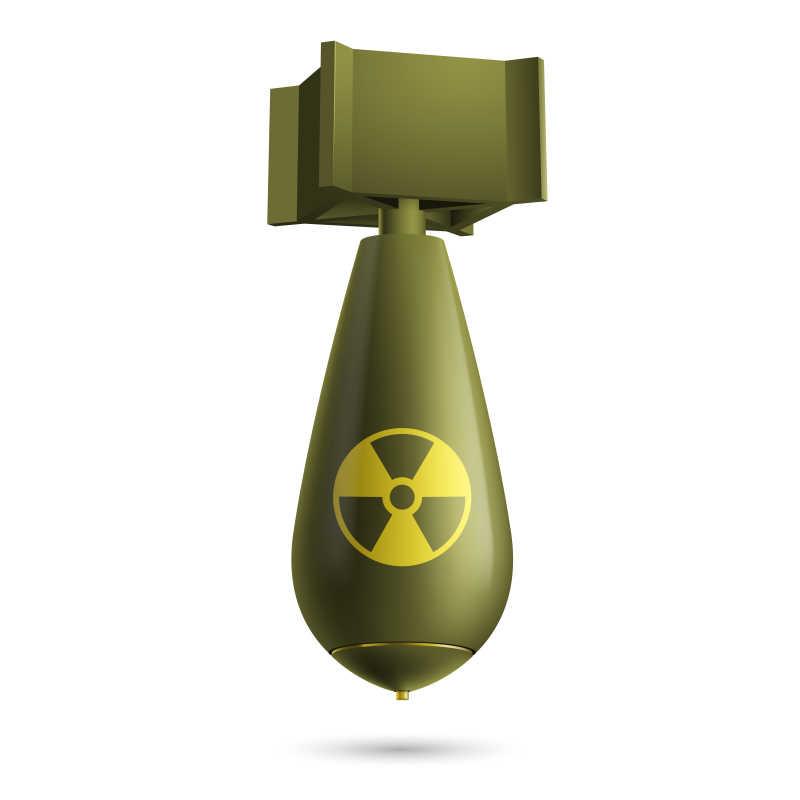 白色背景上的绿色卡通炸弹矢量插图