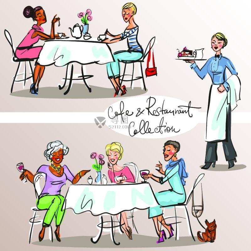 手绘咖啡店客人与服务员