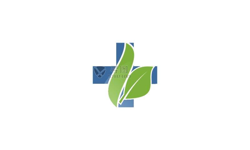 加号与绿叶生态矢量标签
