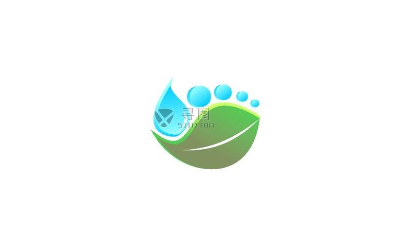 生态水滴矢量标签