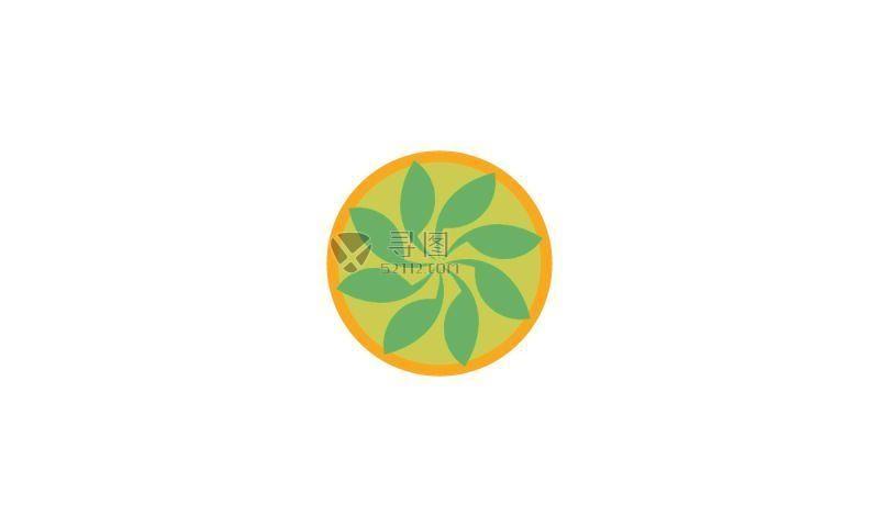 绿色花朵生态矢量标签