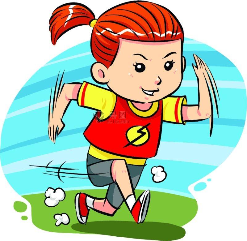 矢量卡通跑步的女孩