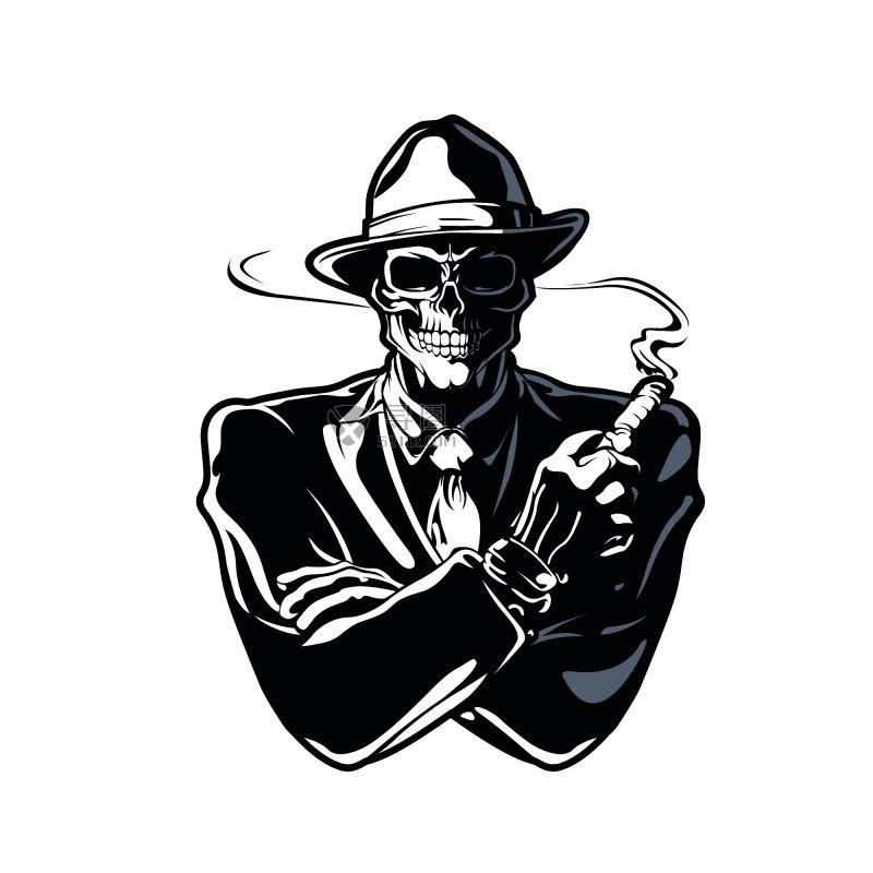 矢量黑色吸烟骷髅素材