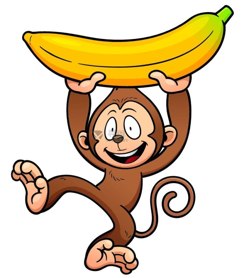 矢量举着香蕉的猴子素材