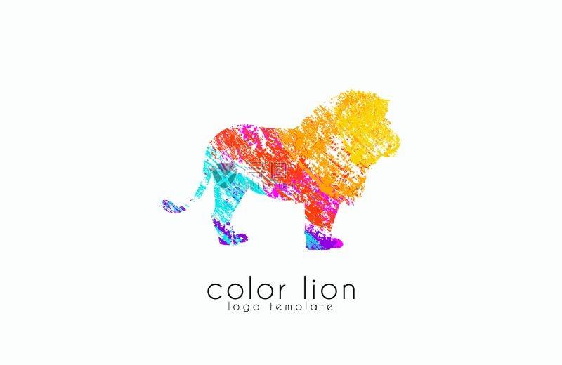 彩色的矢量狮子模板