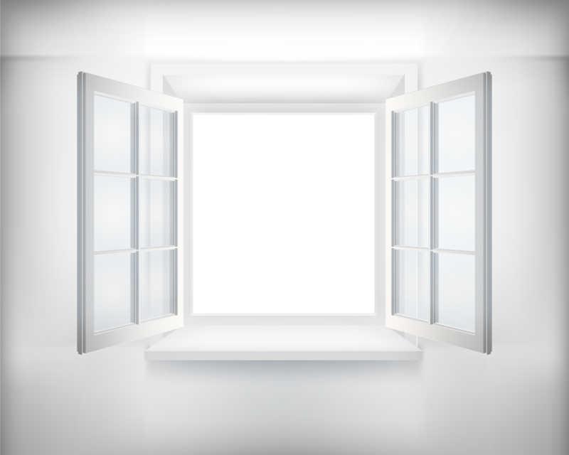 窗打开的室内矢量图